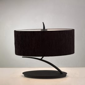 Eve 2 Light Low Energy Table Lamp in Anthracite Finish with Black Shade