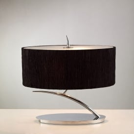 Eve 2 Light Low Energy Table Lamp in Polished Chrome Finish with Black Shade