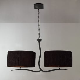 Eve 4 Light Low Energy Ceiling Fitting In Anthracite Finish with Black Shades