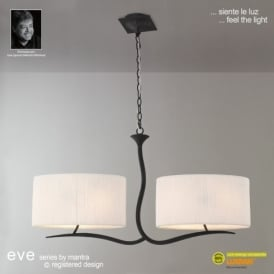 Eve 4 Light Low Energy Ceiling Fitting In Anthracite Finish with Ivory Shades