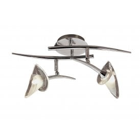 Flavia 2 Light Adjustable Ceiling Fitting in Polished Chrome Finish Complete with Glass Shades