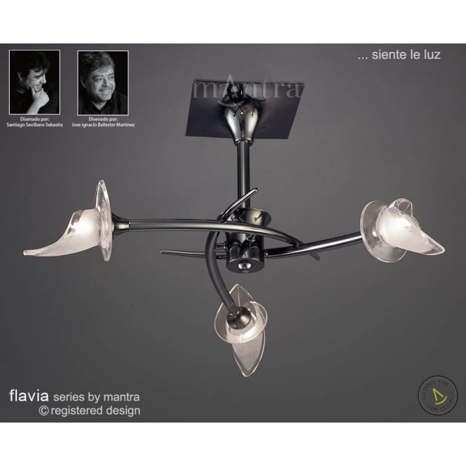 Mantra flavia 3 light ceiling fitting in black chrome finish flavia 3 light ceiling fitting in black chrome finish mozeypictures Image collections