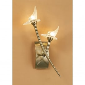 Flavia Double Halogen Wall Fitting In Antique Brass Finish