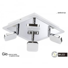 Gio 4 Light LED Ceiling Spotlight in Polished Chrome Finish