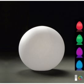 Huevo Single LED (RGB) Small Ball Table Lamp in White Finish (Outdoor)