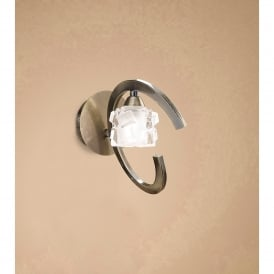 Ice Single Light Switched Wall Fitting in Antique Brass Finish