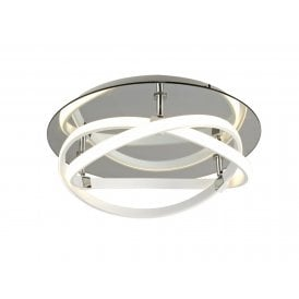 Infinity LED Flush Ceiling Fitting in White Finish with Frosted Polycarbonate