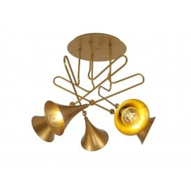 Jazz 5 Light Ceiling Fitting in Matt Gold Painted Finish