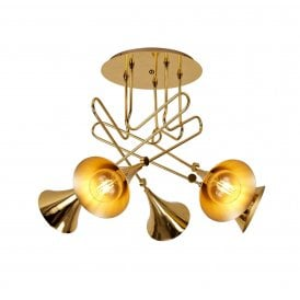 Jazz 5 Light Ceiling Fitting in Polished Gold Finish