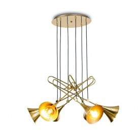 Jazz 6 Light Ceiling Pendant in Polished Gold Finish