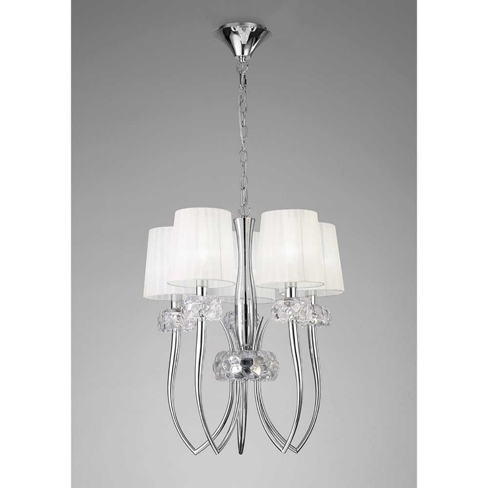 Amity 5l Pendant Brushed Chrome: Mantra Loewe 5 Light Adjustable Small Ceiling Pendant In