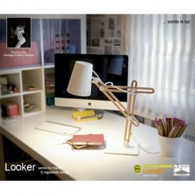 Looker Low Energy Single Light Desk Lamp in Wood Finish with White Detail