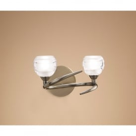 Loop 2 Light Halogen Switched Wall Fitting in Antique Brass Finish