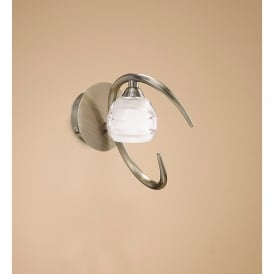 Loop Single Light Halogen Switched Wall Fitting in Antique Brass Finish