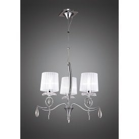 Louise 3 Light Multi Arm Ceiling Fitting in Polished Chrome Finish with Crystal Accents