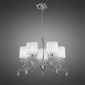 Louise 5 Light Multi Arm Ceiling Fitting in Polished Chrome Finish with Crystal Accents