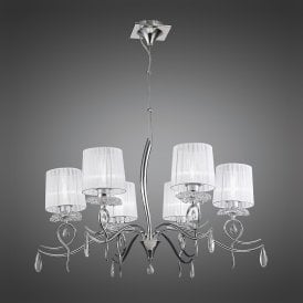 Louise 6 Light Multi Arm Ceiling Fitting in Polished Chrome Finish with Crystal Accents