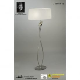 Lua 2 Light Floor Lamp in Satin Nickel Finish With White Shade