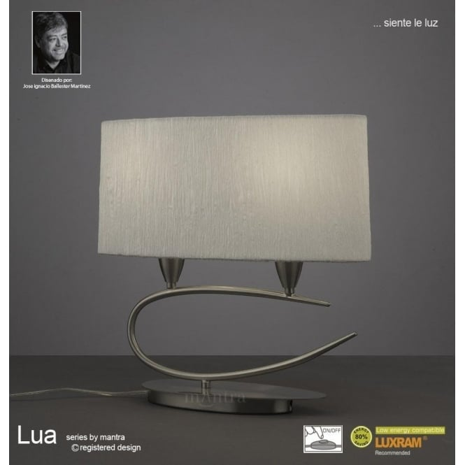 Mantra Lua 2 Light Table Lamp in Satin Nickel Finish With White Shade