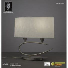 Lua 2 Light Table Lamp in Satin Nickel Finish With White Shade