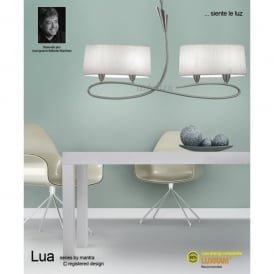 Lua 4 Light Ceiling Pendant in Satin Nickel Finish With White Shades