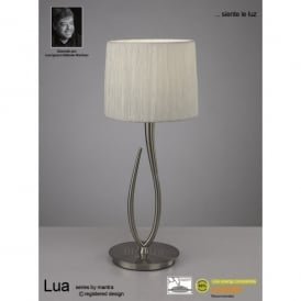 Lua Single Light Large Table Lamp in Satin Nickel Finish With White Shade