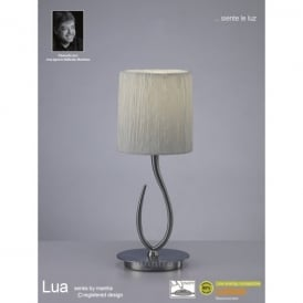 Lua Single Light Small Table Lamp in Satin Nickel Finish With White Shade