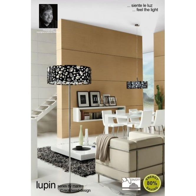 Mantra lupin 4 light low energy floor lamp in black white lupin 4 light low energy floor lamp in black amp mozeypictures Gallery
