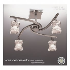 M0037 Rosa Del Desierto 4 Light Halogen Semi Flush Ceiling Fitting In Satin Nickel Finish