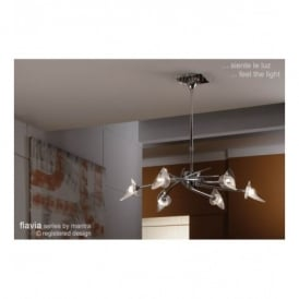 M0301 Flavia 6 Light Halogen Ceiling Fitting In Polished Chrome Finish