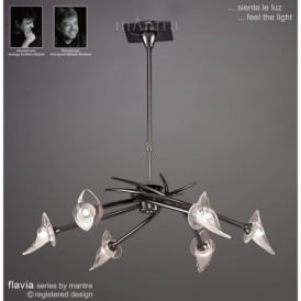M0301BC Flavia 6 Light Ceiling Fitting in Black Chrome Finish