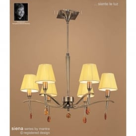 M0342AB Siena 6 Light Adjustable Ceiling Pendant in Antique Brass Finish With Amber Shades