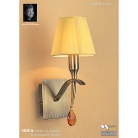 M0347AB/S Siena Single Light Switched Wall Lamp in Antique Brass Finish With Amber Shade