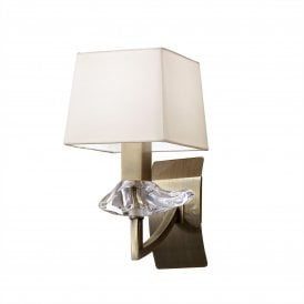 M0786AB Akira Single Light Switched Wall Fitting in Antique Brass Finish with Cream Shade