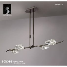 M1456BC Eclipse 4 Light Ceiling Pendant In Black Chrome Finish