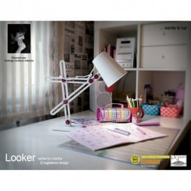 M3613 Looker Low Energy Single Light Desk Lamp in White Finish with Purple Detail