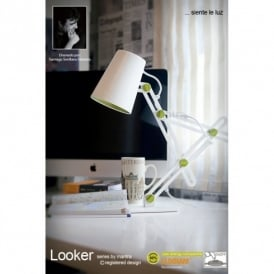 M3614 Looker Low Energy Single Light Desk Lamp in White Finish with Green Detail