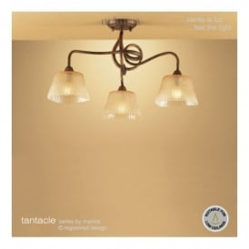 M39003 Tentacle 3 Light Ceiling Fitting In Antique Bronze Finish
