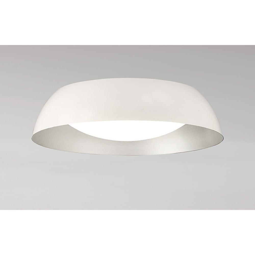 Mantra M4847 Argenta Single Led Small Semi Flush Ceiling Light In White Silver Finish