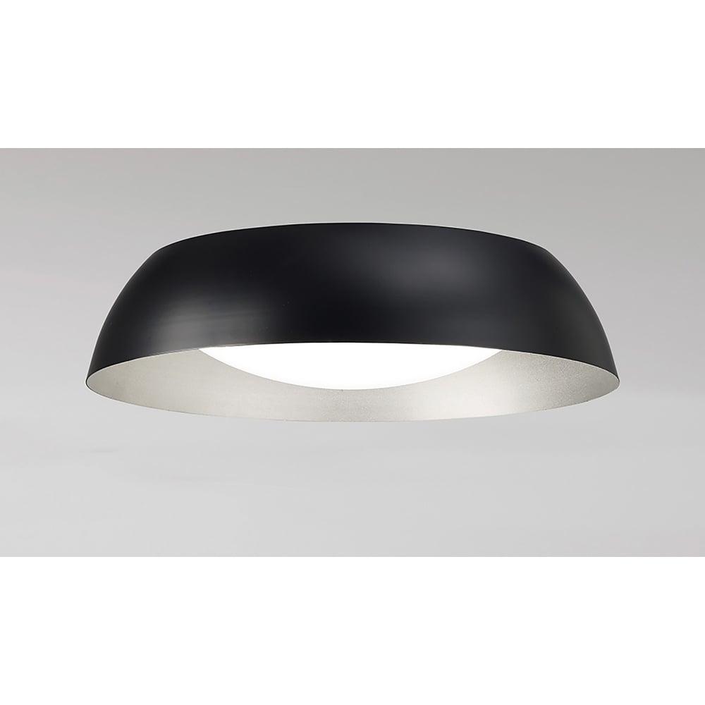 Mantra M4849 Argenta Single Led Small Flush Ceiling Light In Black Silver Finish