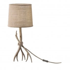 M6181 Sabina Single Light Rustic Table Lamp in Imitation Wood Finish Complete with Beige Linen Shade