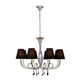 M6207 Paola 8 Light Multi Arm Ceiling Fitting With Silver Painted Finish Complete with Black Shades
