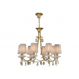 M6291 Sophie 8 Light Multi Arm Chandelier in Painted Gold Finish Complete with Cream Shades
