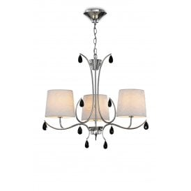 M6315 Andrea 3 Light Multi Arm Ceiling Fitting in Polished Chrome Finish with Off White Shades