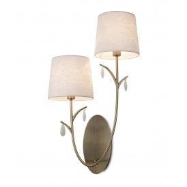 M6336 Andrea 2 Light Wall Fitting in Antique Brass Finish and Off White Shades
