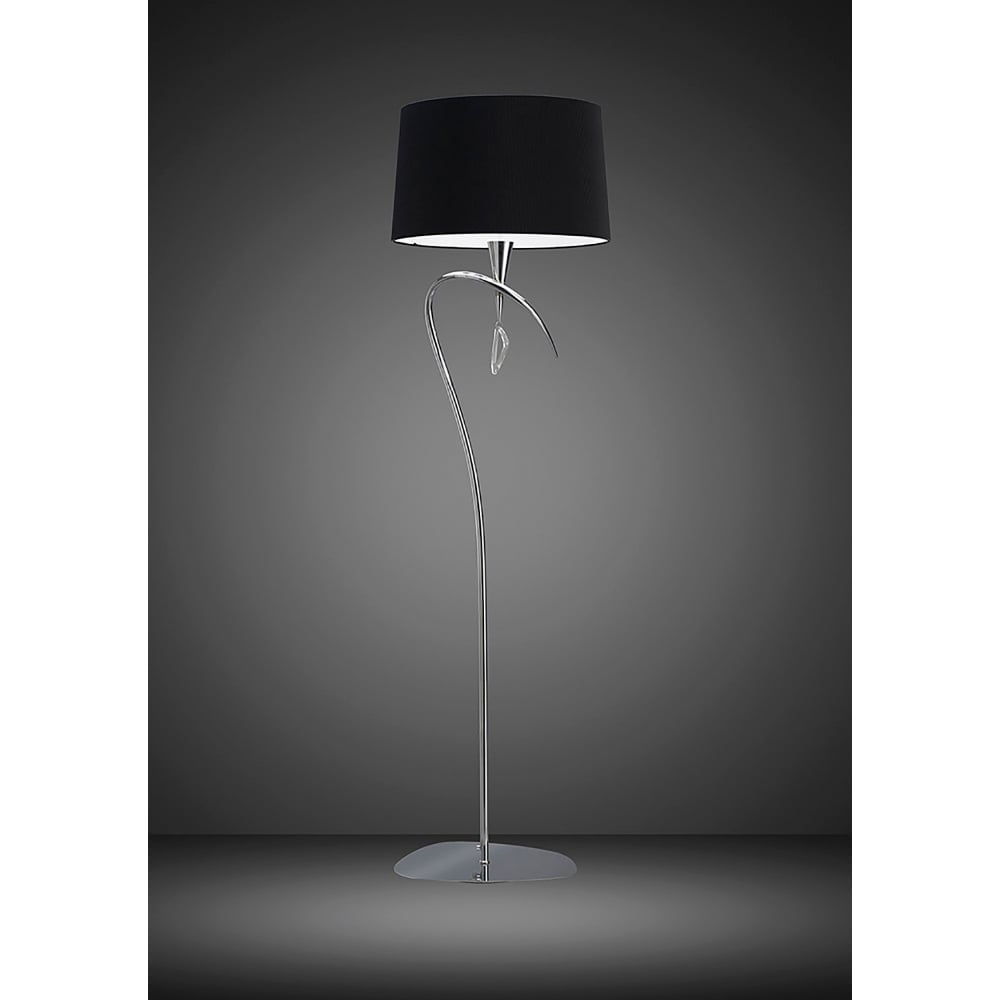 Mantra mara 4 light low energy floor lamp in polished chrome finish mara 4 light low energy floor lamp in polished chrome finish with black shade aloadofball Choice Image