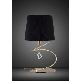 Mara Single Light Low Energy Table Lamp in French Gold Finish with Black Shade