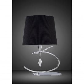 Mara Single Light Low Energy Table Lamp in Polished Chrome Finish with Black Shade