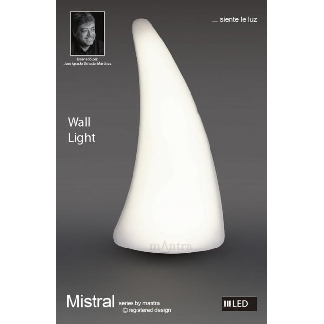 Mantra Mistral Single Light Left Wall Fitting in Polished Chrome Finish and  Opal White Acrylic