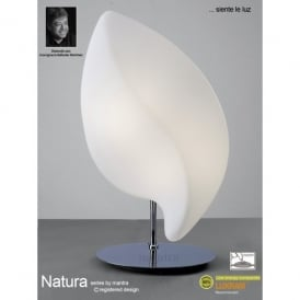 Natura 2 Light Outdoor Table Lamp in Polished Chrome Finish and White Glass Shade